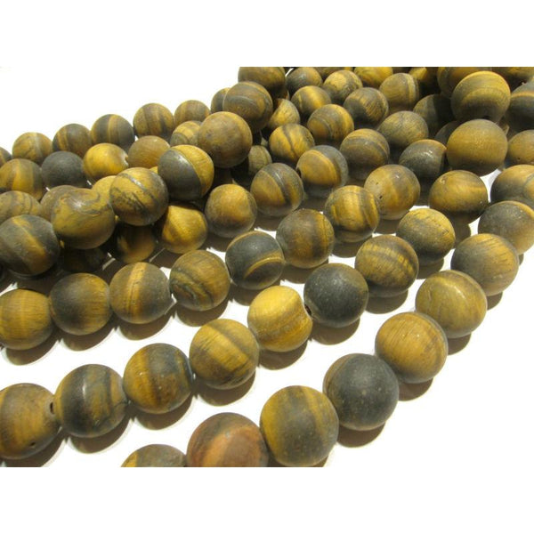 Tiger's Eye Matte Smooth 8mm Rounds Strand
