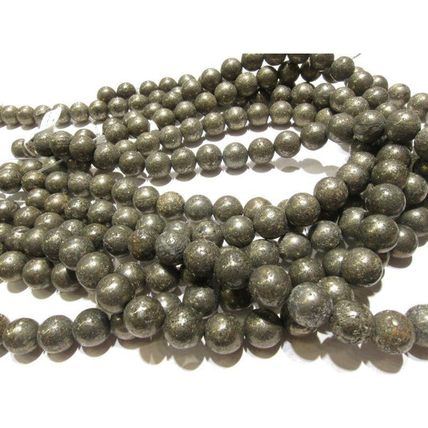 Pyrite Smooth Rounds 10mm Strand