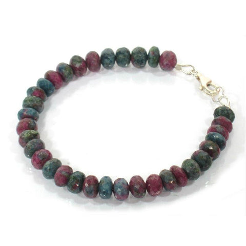 Blue Zoisite Ruby Bracelet w/Sterling Silver Trigger Clasp