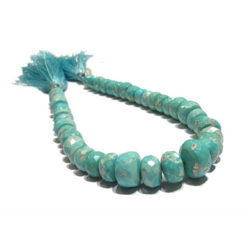 Arizona Sleeping Beauty Natural Turquoise Faceted Rondelles Strand