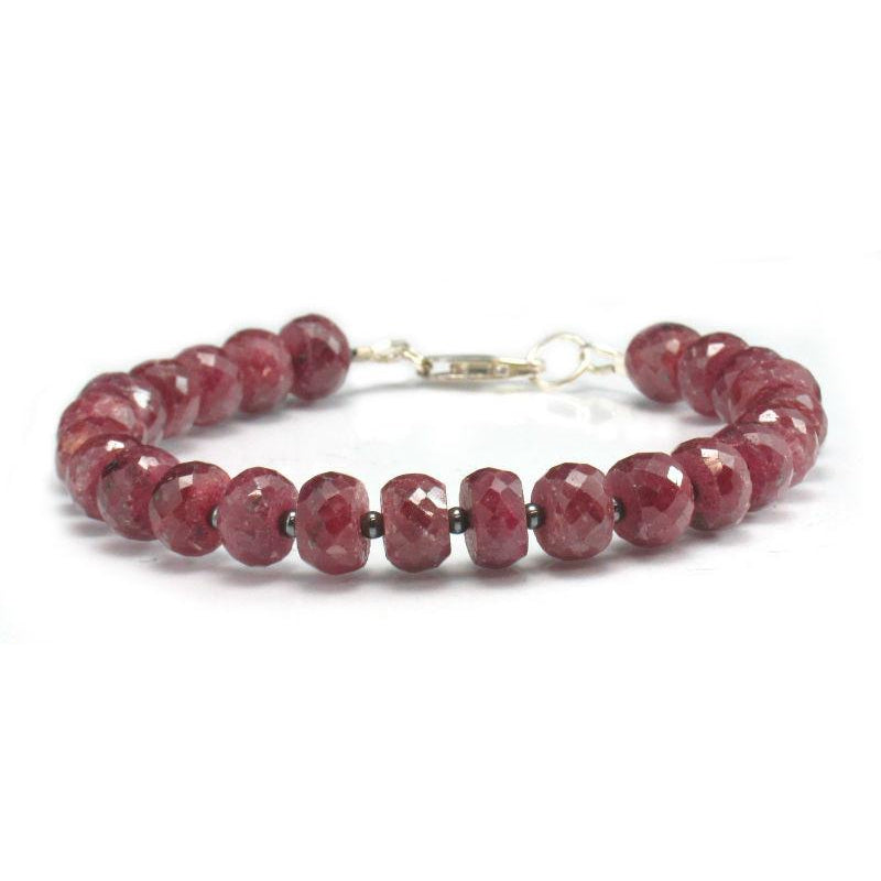 Ruby and Hematite Bracelet w/Sterling Silver Lobster Clasp