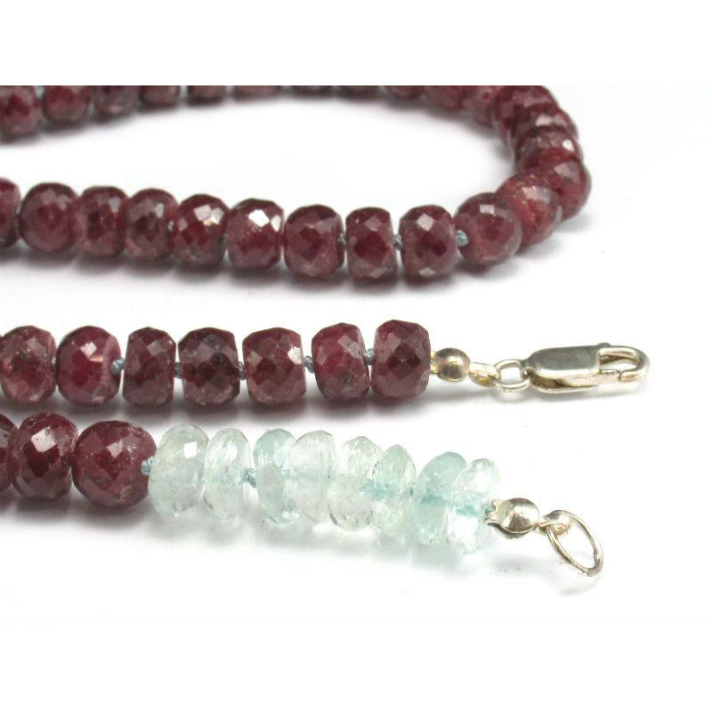 Ruby and Aquamarine Knotted Necklace w/Sterling Silver Lobster Clasp