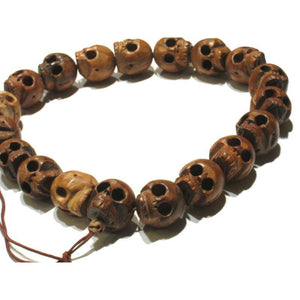 XL Date Wood Hand Carved Skull 18 Bead Mala