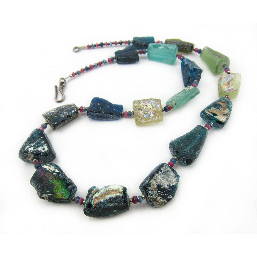 Antique Excavated Afghan Glass Bead Necklace with Faceted Ruby and Sapphire Accent Beads