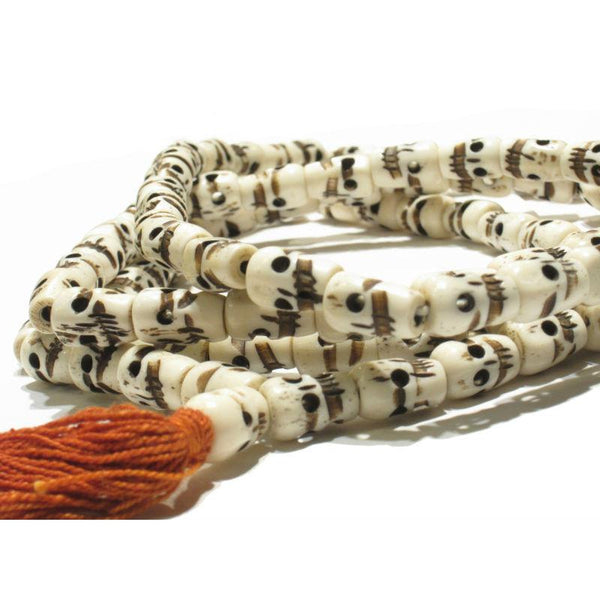 "Cow Bone Hand Carved ""Classic"" Skull Milk Color Mala"