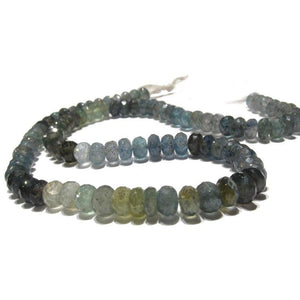Aquamarine (Moss) Faceted Rondelles 7mm Strand