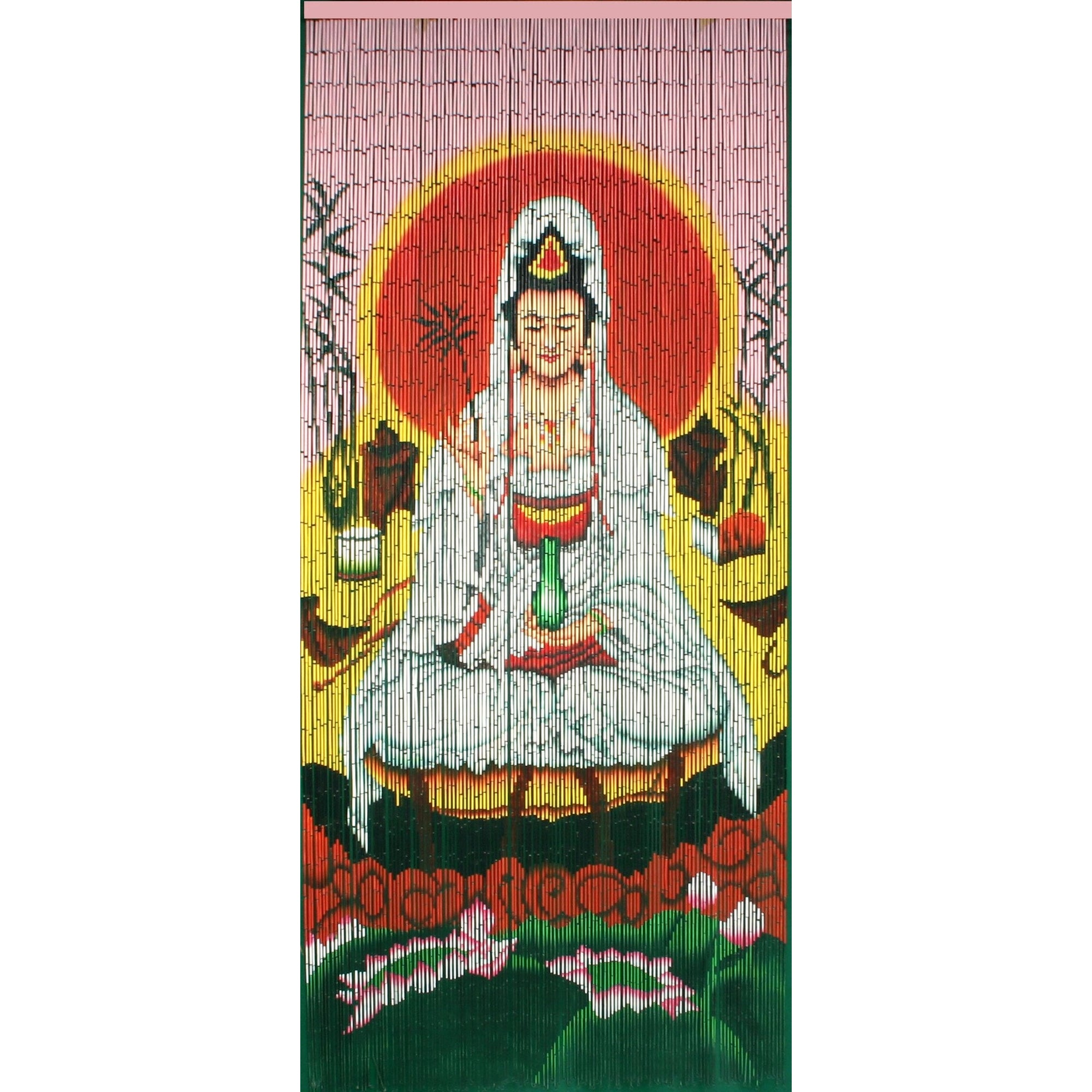 Bamboo beaded curtain hand painted quan yin goddess of for Hand painted bamboo beaded curtains