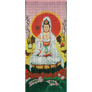 Bamboo Beaded Curtain Hand Painted-Quan Yin Goddess of Mercy