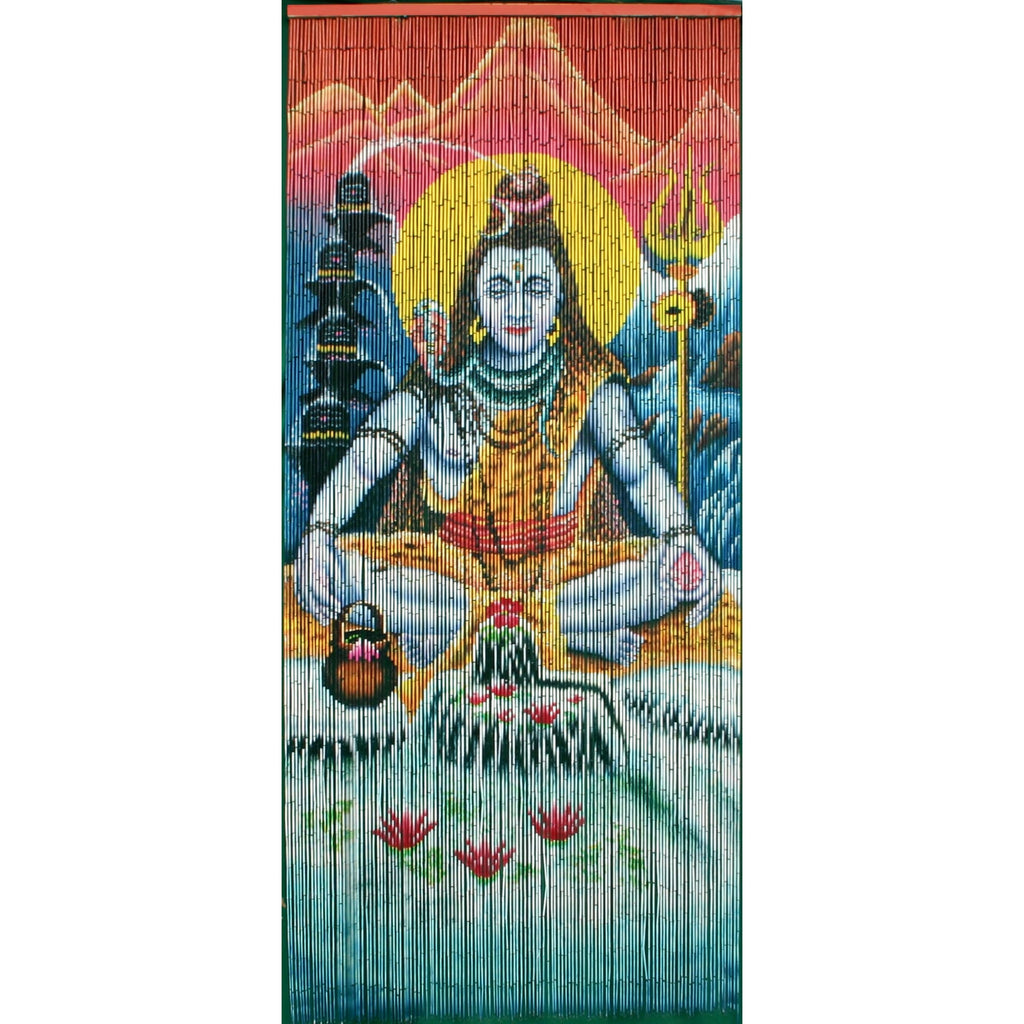 Bamboo Beaded Curtain Hand Painted-Shiva
