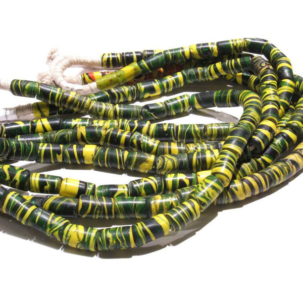 "19th C. Venetian Yellow ""Hurricane"" Tiger Striped Beads"