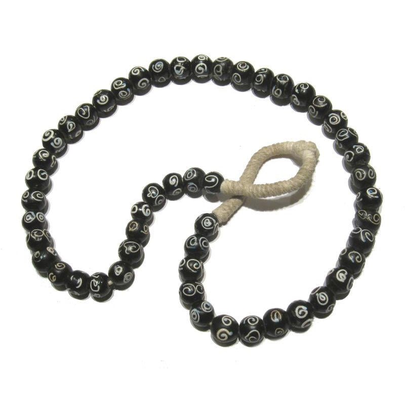 "19th C. Venetian Black ""Apostrophe"" Eye Beads"