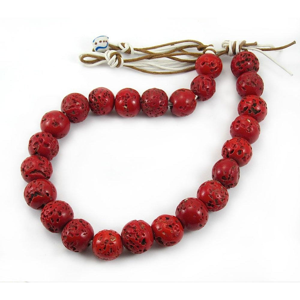 "Indian ""Coral Glass"" Trade Beads"