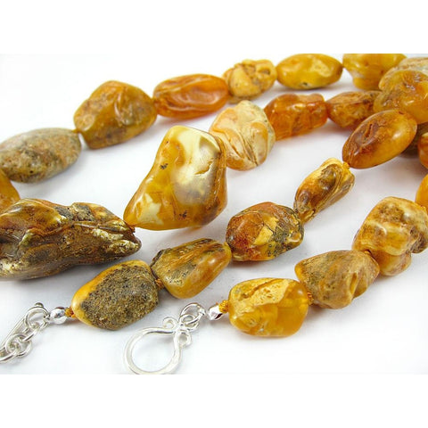 19th Century Raw Baltic Amber Nugget Strand/Necklace 2