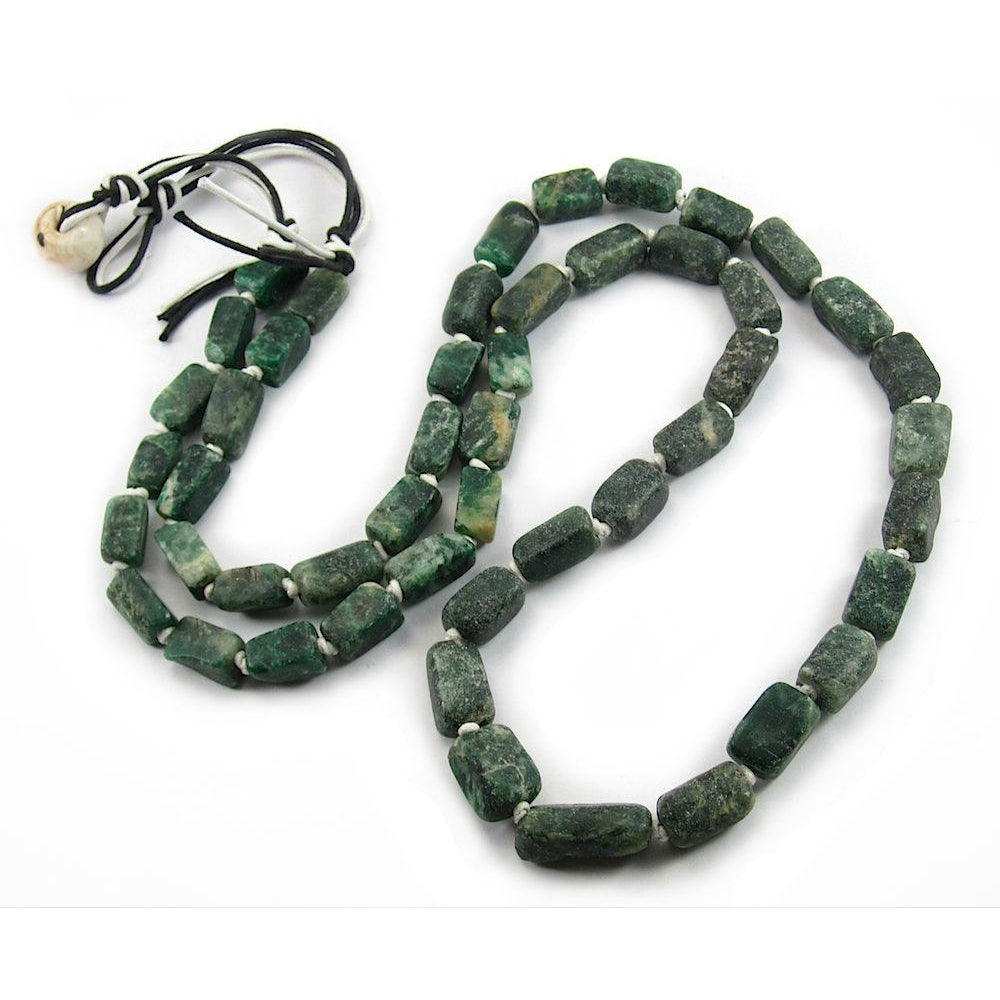 Deep Forest Green Serpentine Matte Rectangle Beads