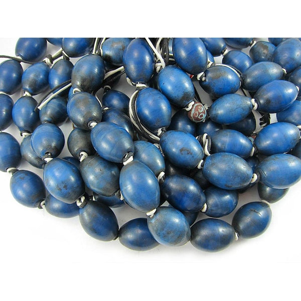 Early 20th C. Chinese Hand Wound Glass Trade Beads Lapis Color