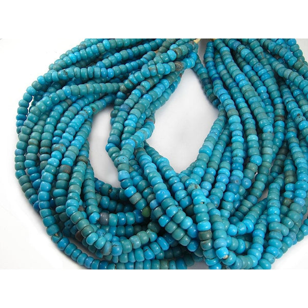 1900's Czech. Padre Bead Strand Turquoise Blue Strand