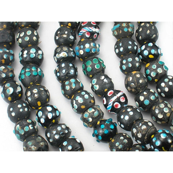 19th Century Venetian Black/Blue Eye Bead Strand