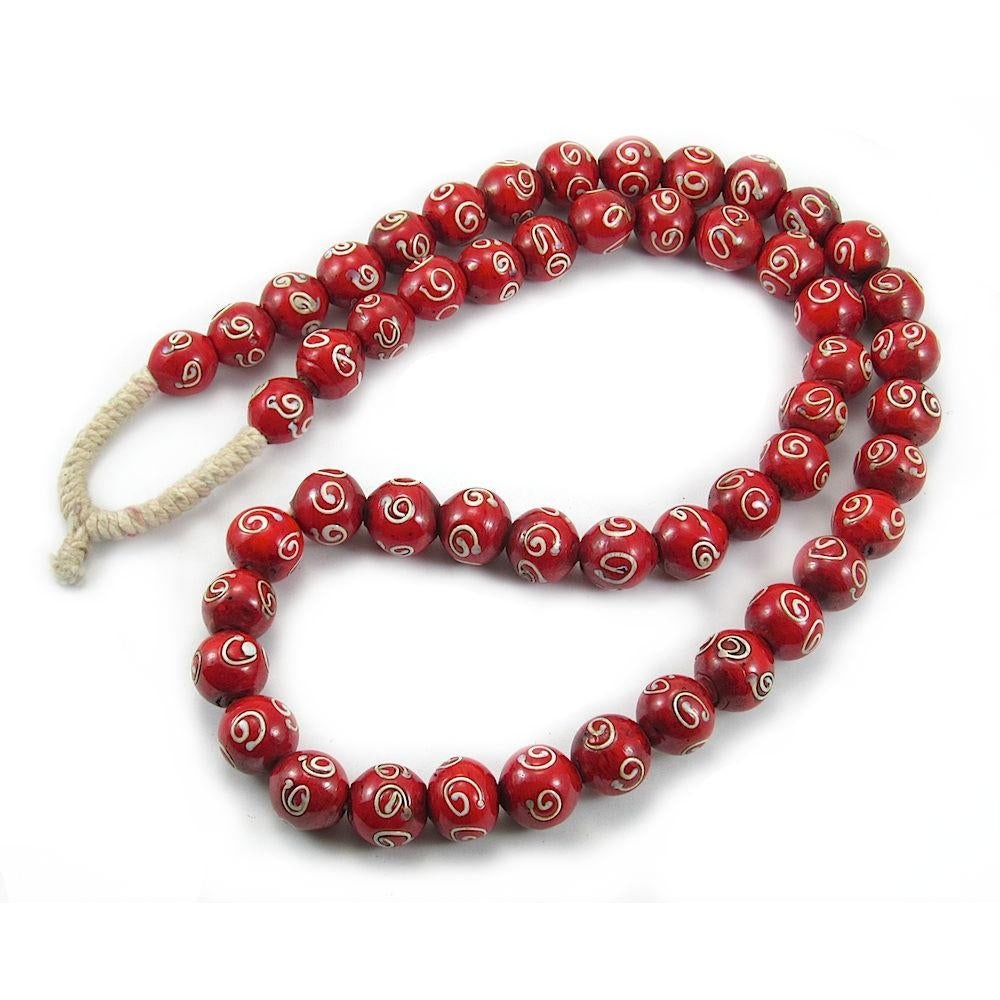 "19th C. Venetian Red ""Apostrophe"" Eye Bead Strand"