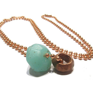 Antique Glass and Copper Bead Necklace