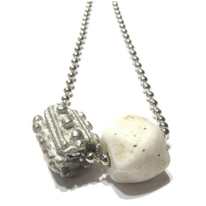 Antique Glass and Pewter Bead Necklace