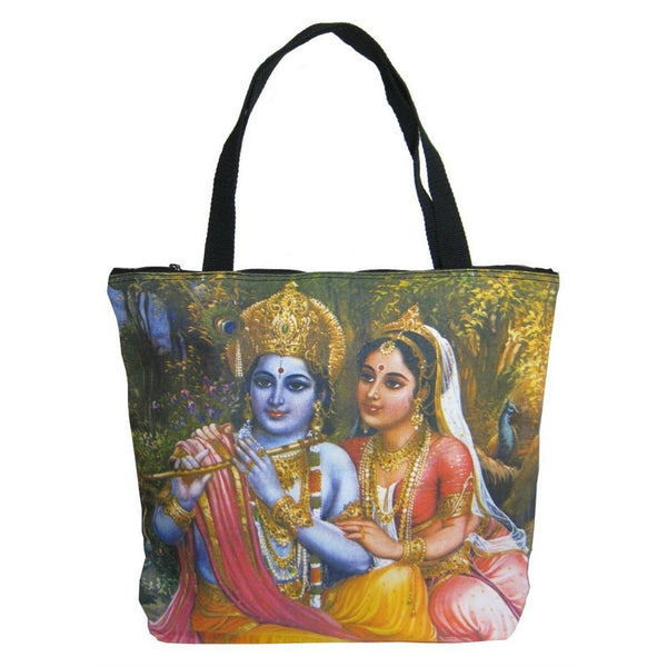 Screen Printed Tote Bag, Krishna and Radha