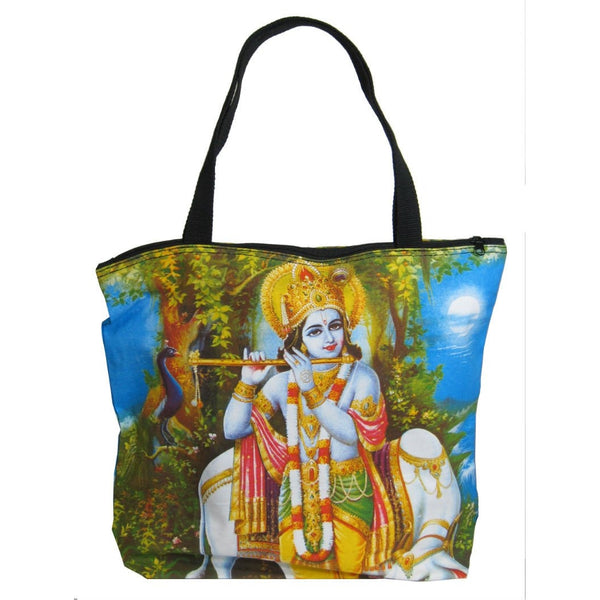 Screen Printed Tote Bag, Krishna
