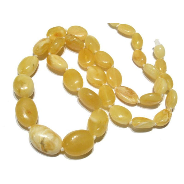 Amber (Light Yellow Butterscotch) Nugget Knotted Strand/Necklace
