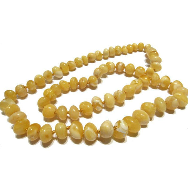"White ""Butter"" and Golden Amber Nugget Necklace"