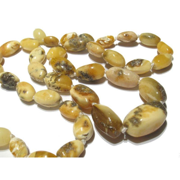 Light Yellow Butterscotch and White Butter Amber Nugget Knotted Strand/Necklace