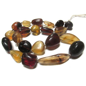 Heirloom Burmite Amber Natural Nugget in Golden, Red, and Cognac Color Bead Strand