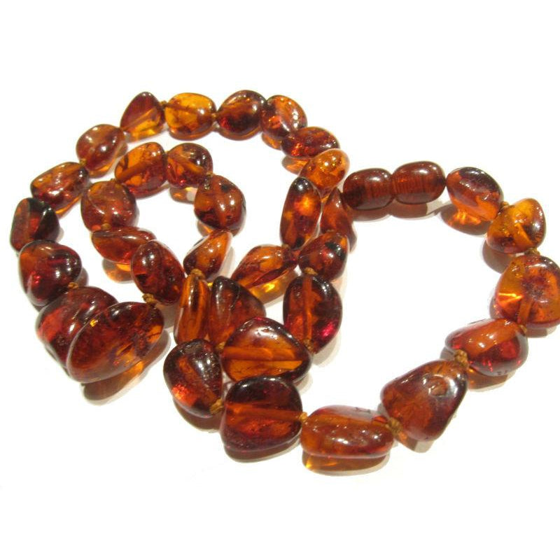 Cognac Amber Nugget Necklace/Strand