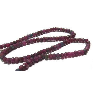 Ruby-Zoisite Faceted Rondelles 3mm Strand