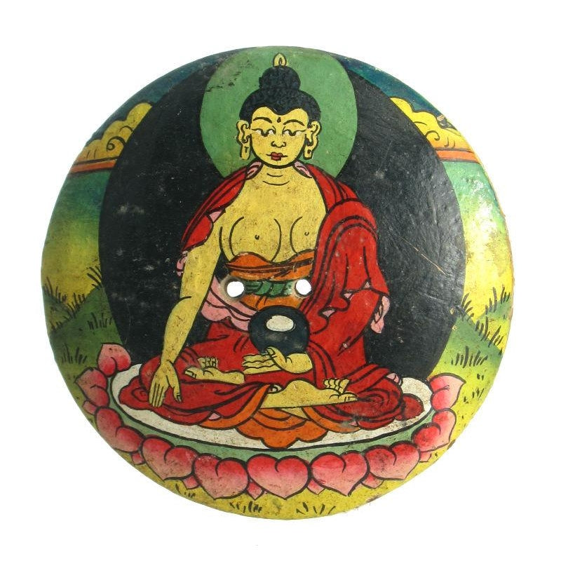 Buddha Coconut Shell Hand Painted Button/ Pendant