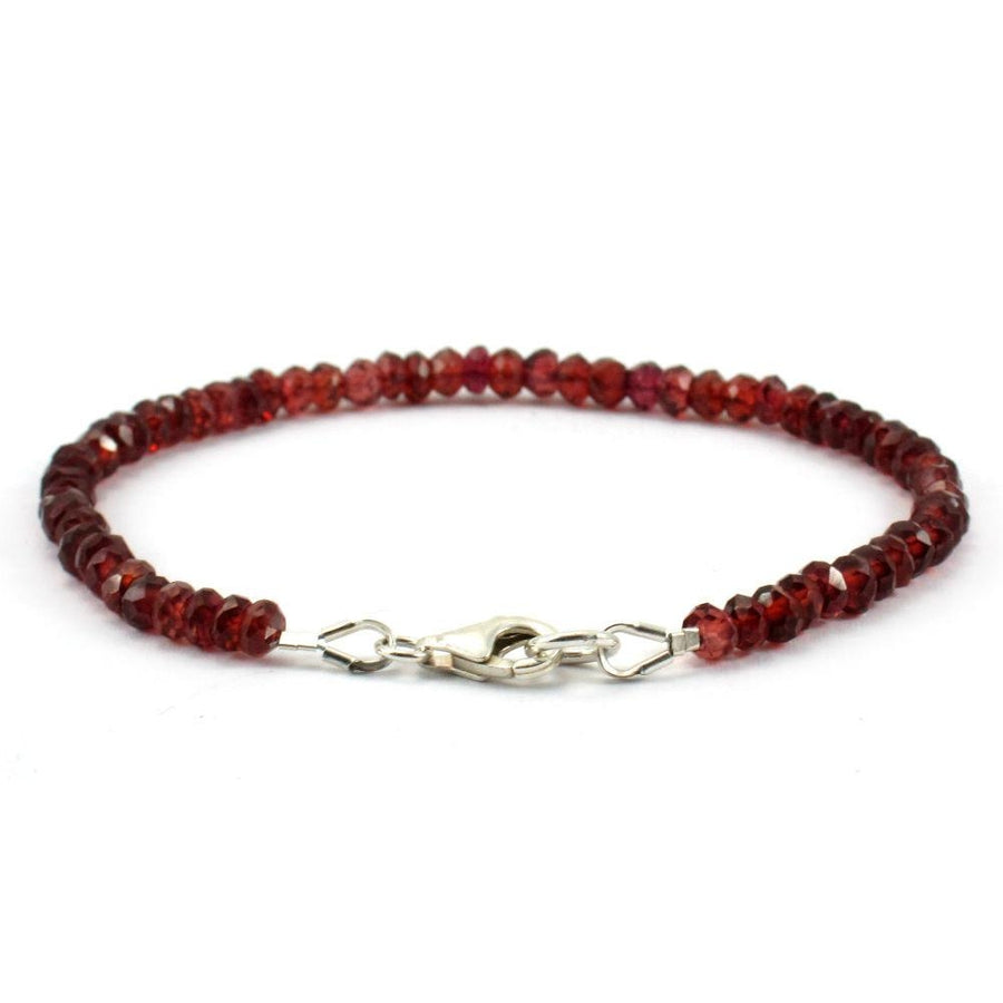 Garnet Faceted Bracelet with Sterling Silver Trigger Clasp