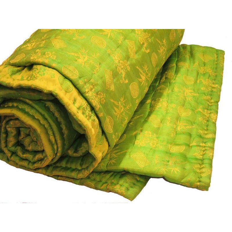 "100% Silk Reversible Quilt/Comforter from Vietnam 95""x 96"" Queen/King (Dark Lime/Light Lime Combo)"