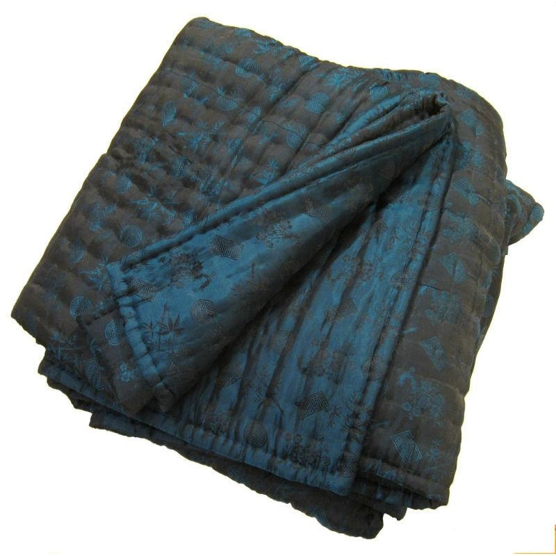"100% Silk Reversible Quilt/Comforter from Vietnam 95""x 96"" Queen/King (Dark Teal/Black Combo)"