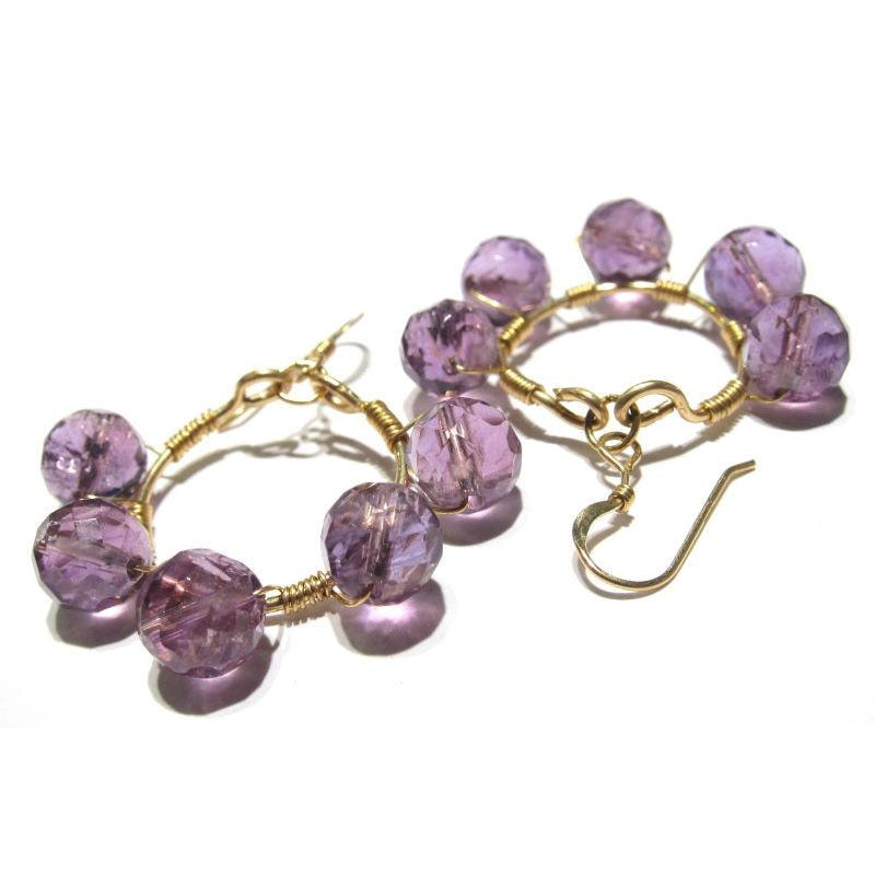 Amethyst Earrings (Beaded Hoops) with Gold Filled Ear Wires