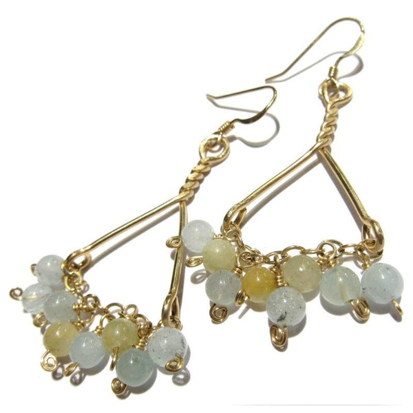 Aquamarine on Gold Filled Chain and Triangle Form Earrings