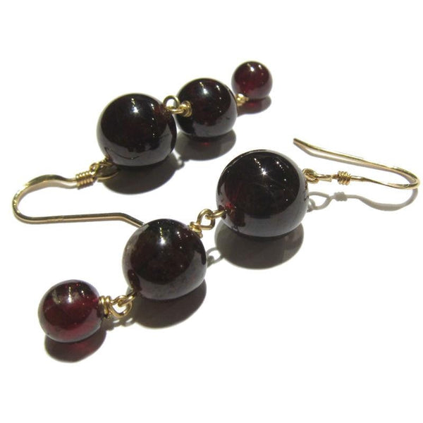 Garnet Cascading Earrings with Gold Filled Ear Wires