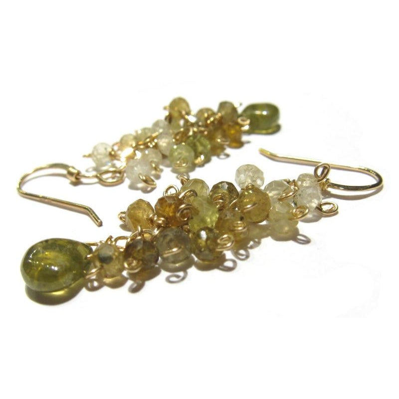 Green Garnet Earrings with Gold Filled Earwires