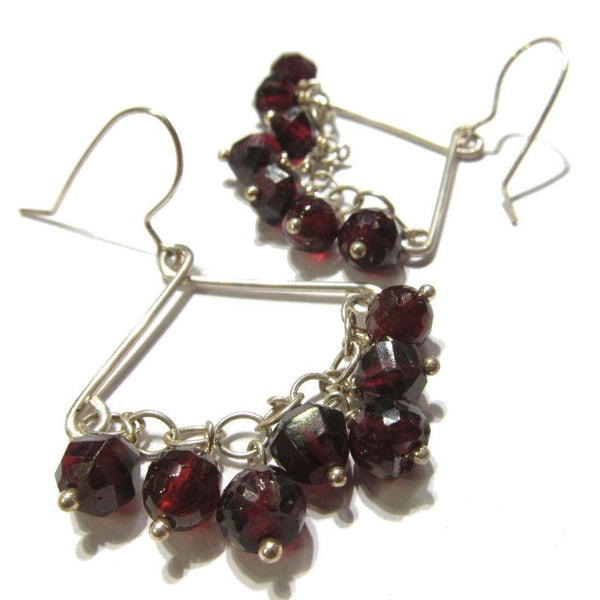 Garnet Earrings with Sterling Silver Earwires
