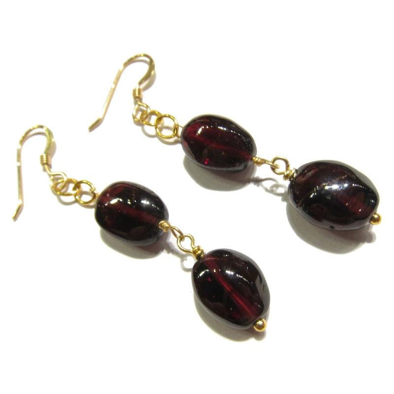 Garnet Earrings with Gold Filled Earwires