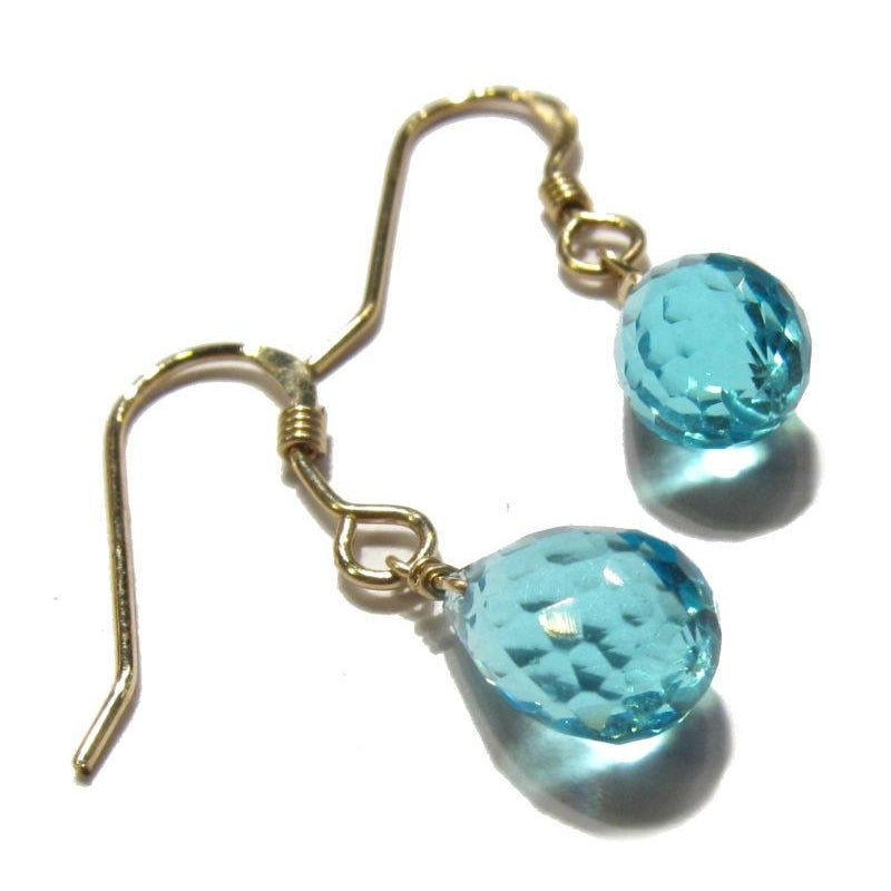Swiss Blue Topaz Drop Earrings with Gold Filled Wire