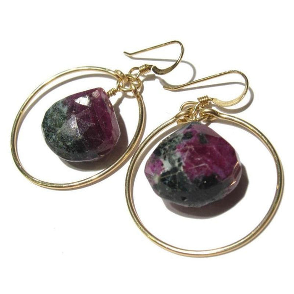 Ruby-Zoisite Faceted Drop Earrings with Gold Filled Hoop Earwires