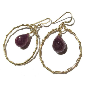 Ruby Faceted Drop Earrings with Gold Filled Earwires