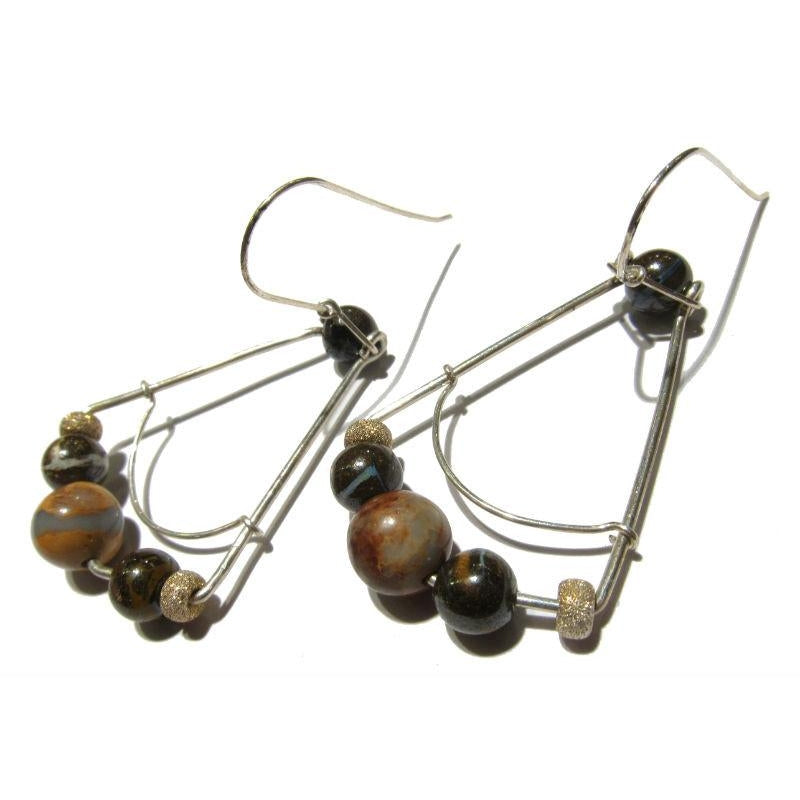 African Opal Earrings with Sterling Silver Earwires