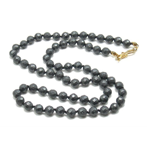Matte Hematite Necklace with Gold Plated Hook Clasp