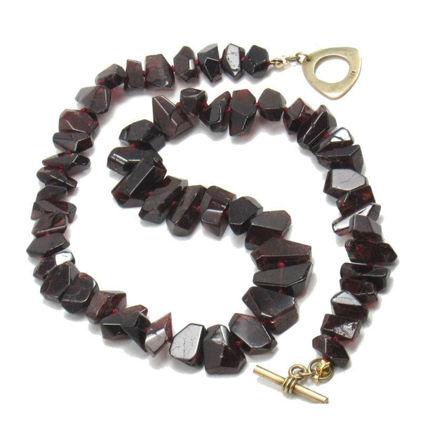 Garnet Necklace with Gold Plated Toggle Clasp