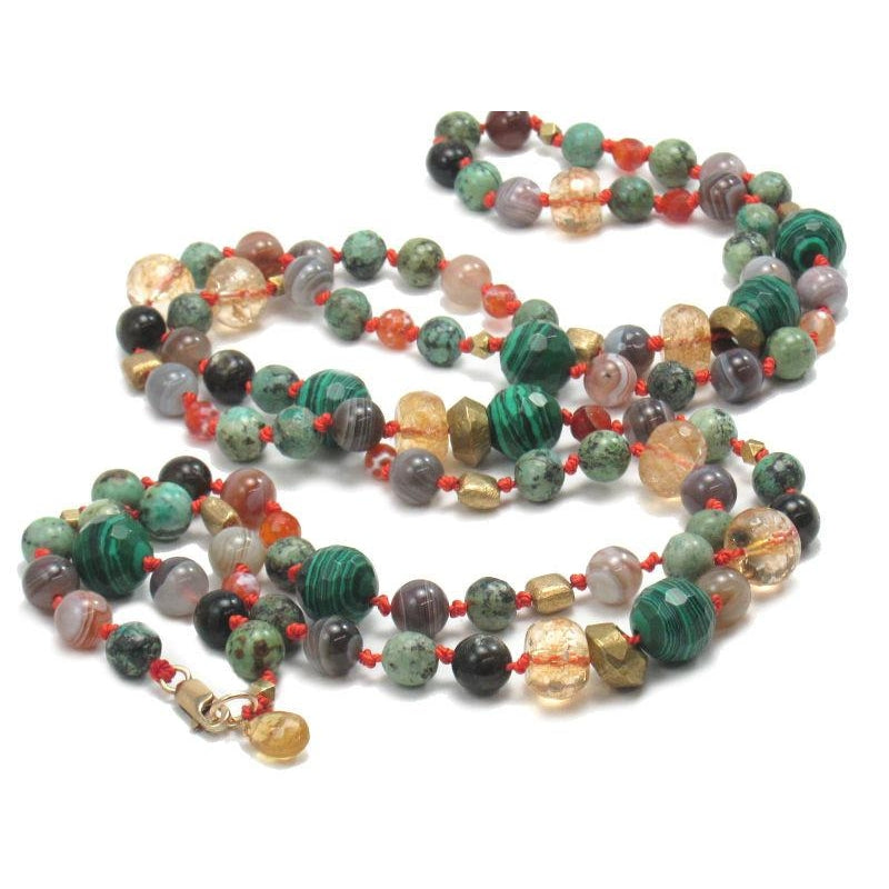 Malachite, Citrine, Agate & Carnelian Necklace with Gold Filled Lobster Claw Clasp