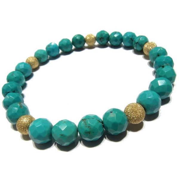 Howlite with Gold Filled Stardust Bracelet on Elastic